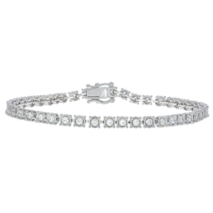 14ct White Gold 2 Carat Diamond 18.5cm Tennis Bracelet