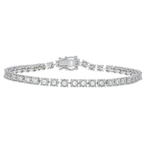 14ct White Gold 2 Carat Diamond 18.5cm Tennis Bracelet