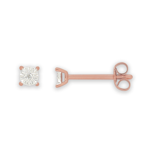 9ct Rose Gold Earrings With Brilliant Cut Diamonds