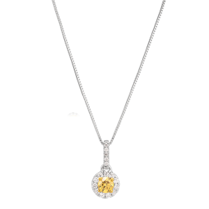 14ct 1/3 Carat Natural Yellow and White Diamond Pendant