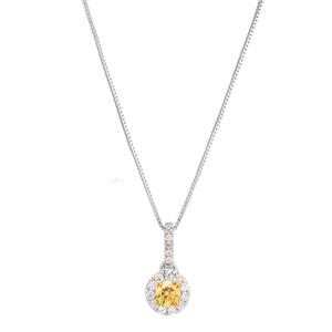 14ct 1/3 Carat Natural Yellow and White Diamond Pendant