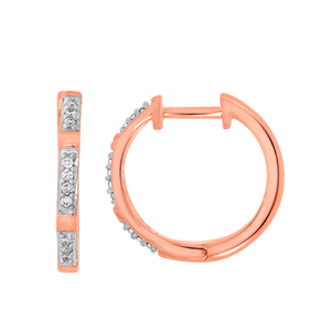 9ct Rose Gold Hoop Earrings Set With 20 Round Diamonds