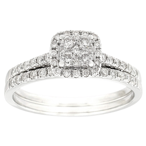 9ct White Gold 0.50 Carat Bridal Set With 52 Brilliant Diamonds