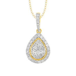 9ct Yellow Gold 1/2 Carat Diamond Pear Shaped Pendant on 45cm Chain