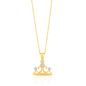 9ct Yellow Gold Crown Pendant with 45cm Chain with 3 Diamonds