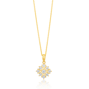 Illusion Set Diamond Pendant on 45cm Chain in 9ct Yellow Gold