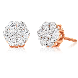 9ct Rose Gold Stud Earrings with 1.00 Carat Diamonds