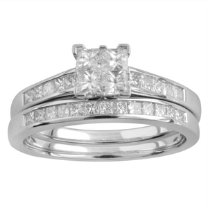 SEAMLESS LOVE 9ct White Gold Bridal Set Ring with 1.00 Carat of Diamonds
