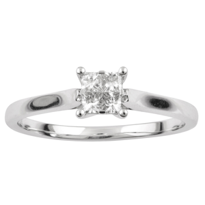 SEAMLESS LOVE  9ct White Gold Princess Cut Ring with 1/4 Carat of Diamonds