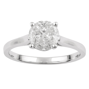 SEAMLESS LOVE  9ct White Gold 4 Trilliant Cut Ring with 1.00 Carat of Diamonds