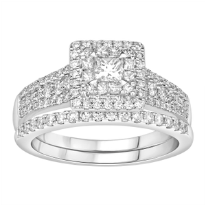Princess Vera 14ct White Gold 1.27 Carat Diamond Halo Bridal Set Ring