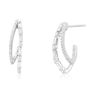 9ct White Gold Earrings with 0.40 Carat of Diamonds