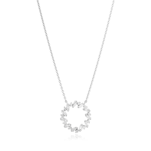9ct White Gold Pendant on Chain with 1/2 Carat Brilliant and Tapered Diamonds