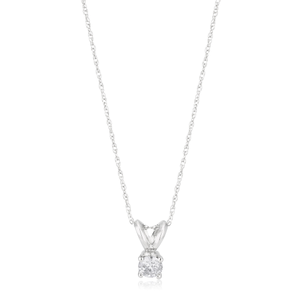 14ct White Gold Pendant with 1/5 Carat Diamond Solitaire on 46cm Gold Chain