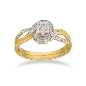 9ct Yellow Gold 2 Ring Diamond Bridal Set