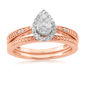 9ct Rose Gold 2-Ring Diamond Bridal set with 0.20 Carat of Diamonds