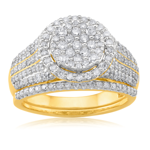 9ct Yellow Gold 2-Ring Diamond Bridal set with 1.30 Carat of Diamonds