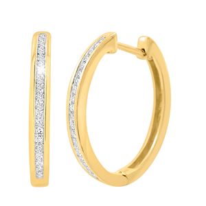 9ct Yellow Gold 1/4 Carat Diamond Huggie Earrings