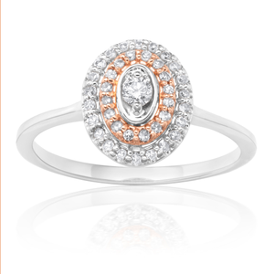 9ct White Gold Ring with 0.25 Carat of Diamonds with Rose Gold Accents
