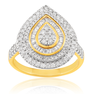 9ct Yellow Gold 1.00 Carat Diamond Ring with 144 Round and Tapered Baguette Diamonds