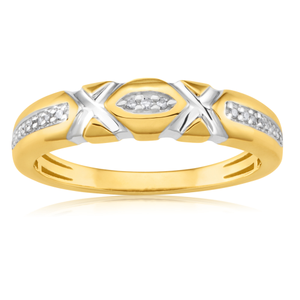 9ct Yellow Gold Eternity Ring with 23 Diamonds with White Rhodium Plating