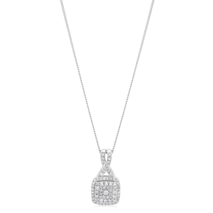 9ct White Gold Pendant with 1/2 Carat of Diamonds