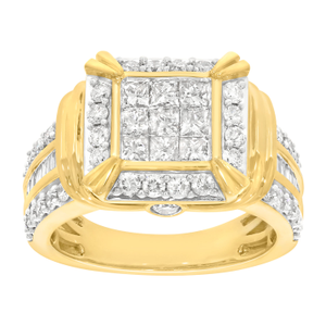 2 Carat Diamond Ring set in 9ct Yellow Gold set with 69 Diamonds