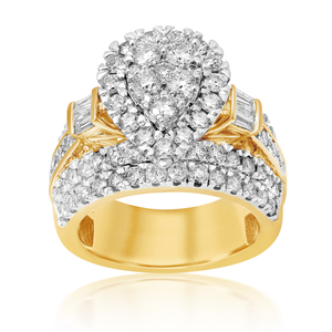 9ct Yellow Gold 3 Carat Pear Shape Diamond Ring
