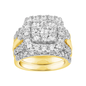 9ct Yellow Gold 4 Carat Diamond  3-Ring Bridal Set