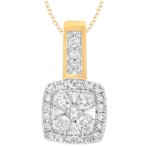 9ct Yellow Gold 1/4 Carat Diamond Pendant on 45cm Chain