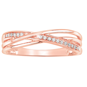 9ct Rose Gold Diamond Crossover Ring with 15 Brilliant Diamonds