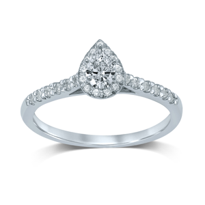 18ct White Gold 0.45 Carat Pear Diamond Halo Ring