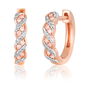 14ct Rose Gold hoops with Pink Argyle Diamonds