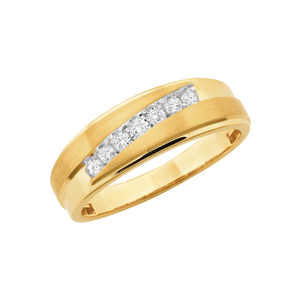 14ct Yellow Gold 1/4 Carat Diamond Mens Ring