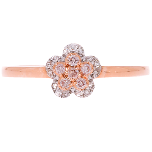 14ct Rose Gold Diamond Ring with Pink Diamonds