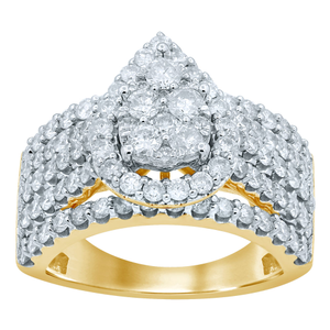 9ct Yellow Gold 2.00 Carat Diamond Pear Shape Ring
