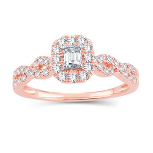 14ct Rose Gold 1/2 Carat Diamond Ring Emerald Cut Centre Diamond