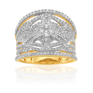 14ct Yellow Gold 1Carat Diamond Ring With Brilliant Diamonds