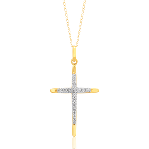 10ct Yellow Gold 0.35 Carat Diamond Cross Pendant