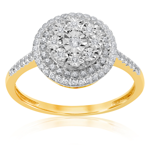 9ct Yellow Gold Diamond Cluster Ring with 78 Brilliant Diamonds
