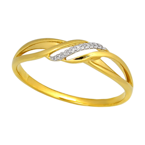 9ct Yellow Gold Diamond Ring with 11 Brilliant Diamonds