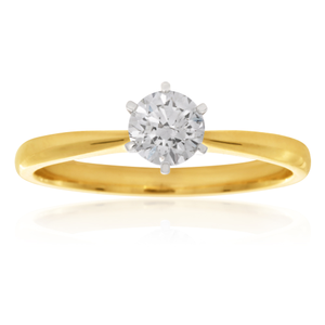 Luminare Laboratory Grown 1/2 Carat Diamond Ring in 18ct Yellow Gold 6Claw Setting