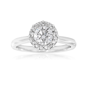 Luminare Lab Grown 18ct White Gold 0.80 Carat Diamond Ring with Diamond Halo