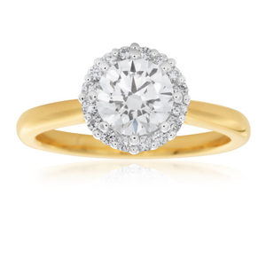 Luminare Lab Grown 18ct Yellow Gold 1.1 Carat Diamond Ring with Diamond Halo