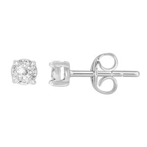 9ct White Gold Diamond Stud Earrings 18 Brilliant Cut Diamonds