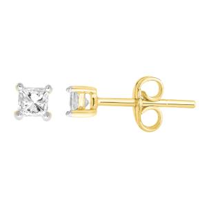 9ct Yellow Gold  0.15 Carat Princess Diamond Stud Earrings