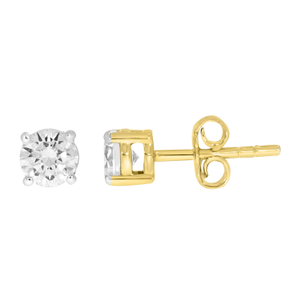 9ct Yellow Gold  1.00 Carat Diamond Stud Earrings