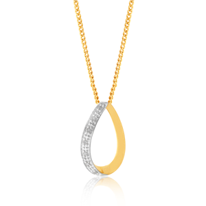 9ct Yellow Gold 0.05 Carat 7 Diamond Pendant