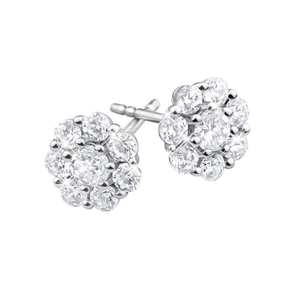 Flawless Cut 18ct White Gold Diamond Flower Stud Earrings (TW=55-59PT)