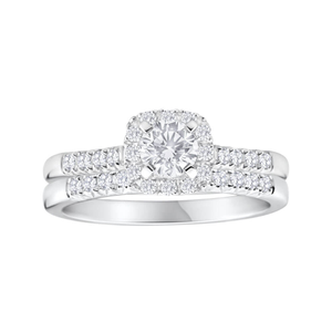 Flawless Cut 18ct White Gold 2 Ring Bridal Set With 0.75 Carats Of Certified Diamonds